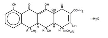Doxycycline Hyclate Tablets, USP, are an antibacterial drug synthetically derived from oxytetracycline. The structural formula of doxycycline monohydrate is