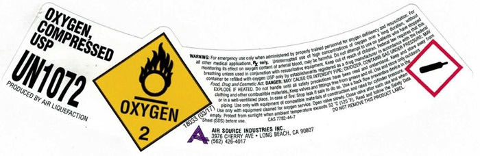 Airsource hp o2 sl Label
