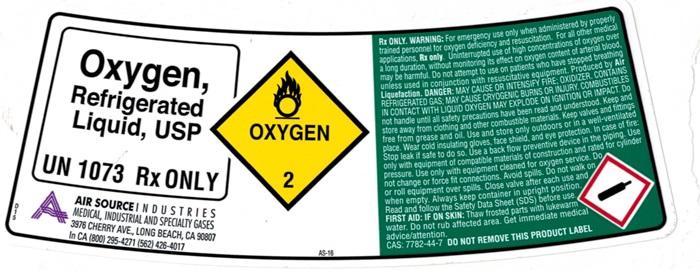OXYGEN REFRIGERATED LIQUID LABEL