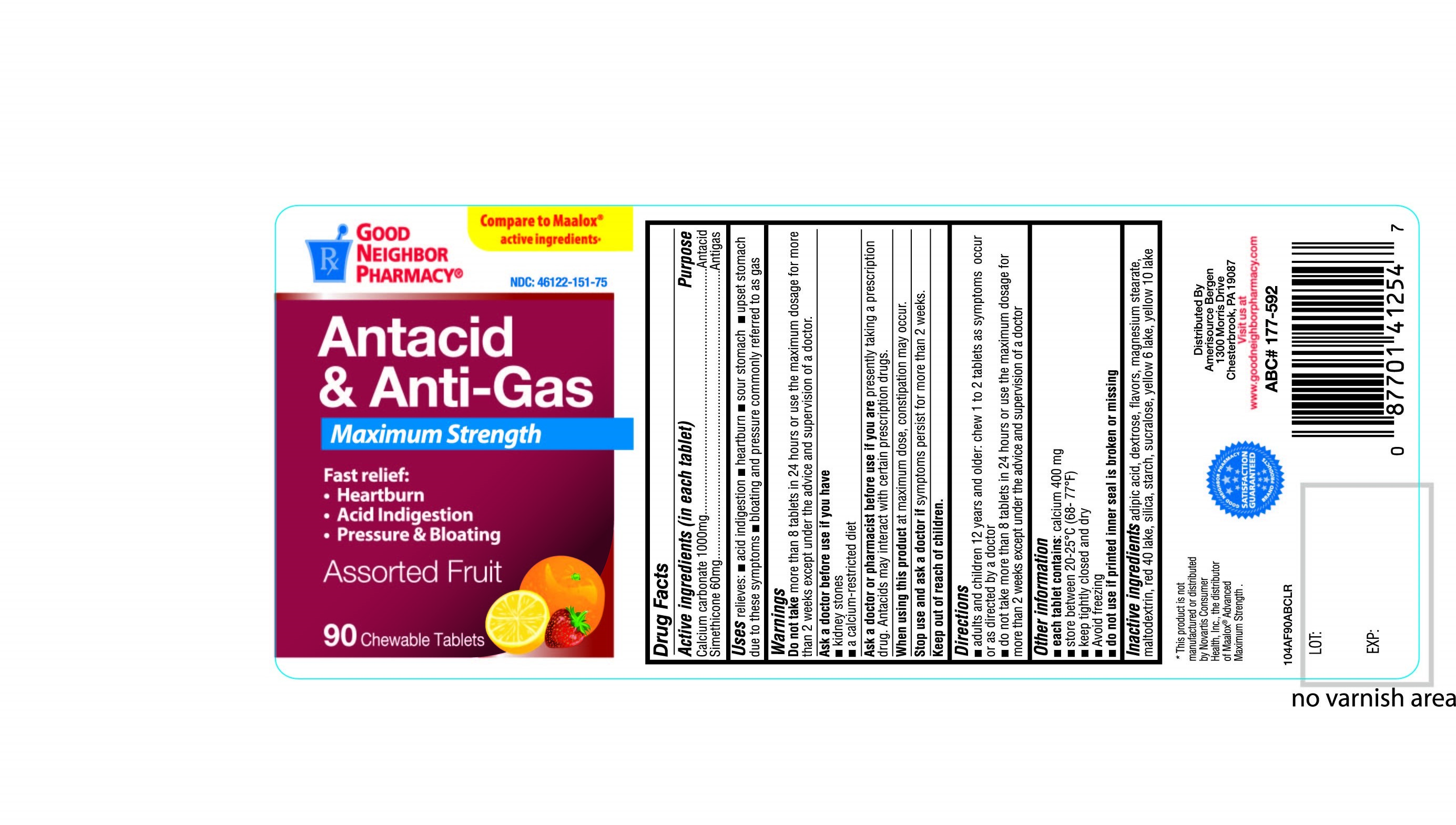 Maximum Strength Antacid and Antigas Assorted Fruit 90 Chewable Tablets