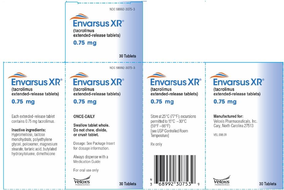 Envarsus 0.75mg 30 count Carton Label