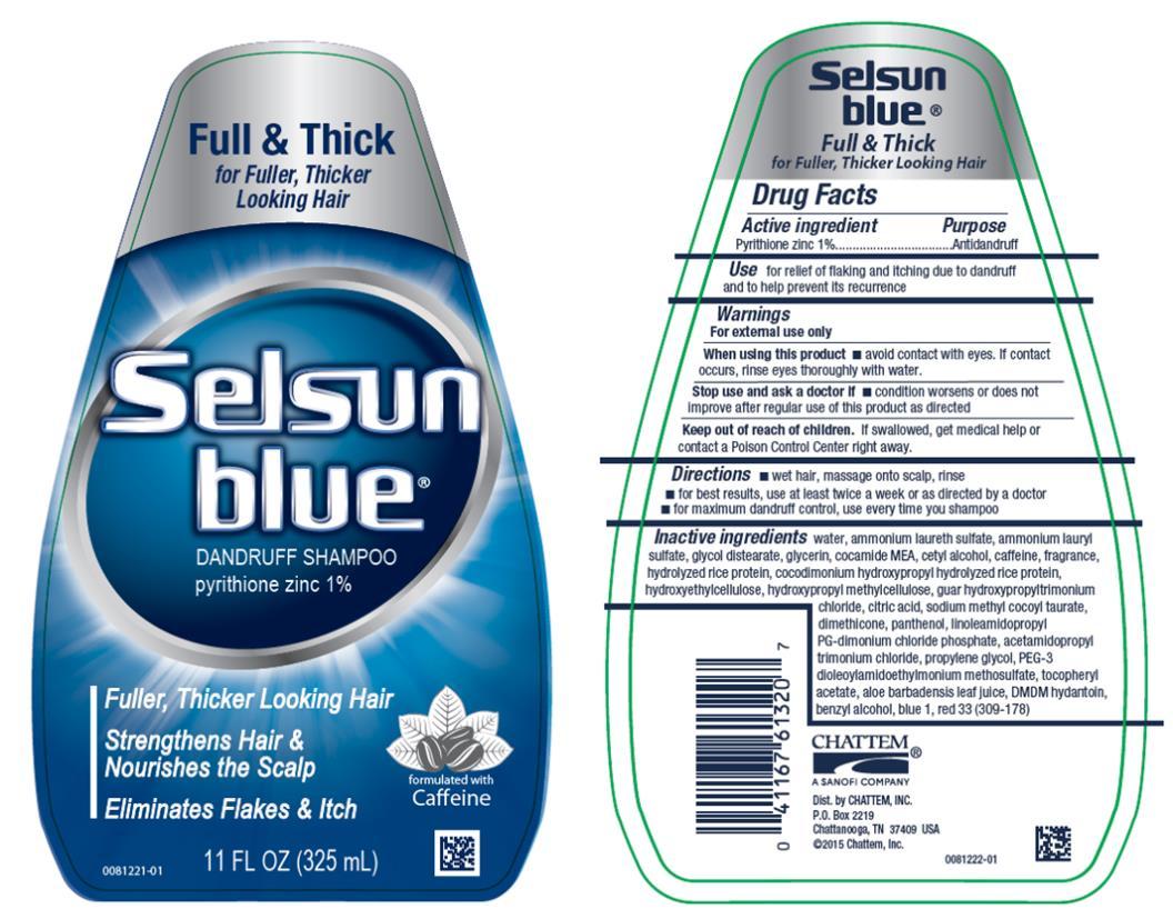 Full & Thick for Fuller, Thicker Looking Hair Selsun blue  DANDRUFF SHAMPOO pyrithione zinc 1% 11 FL OZ (325 mL)