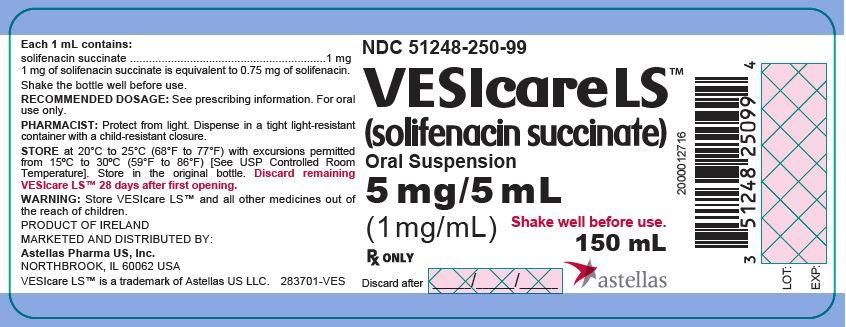 VESIcare LS (solifenacin succinate) Oral Suspension 5 mg/5 mL (1 mg/mL) bottle label