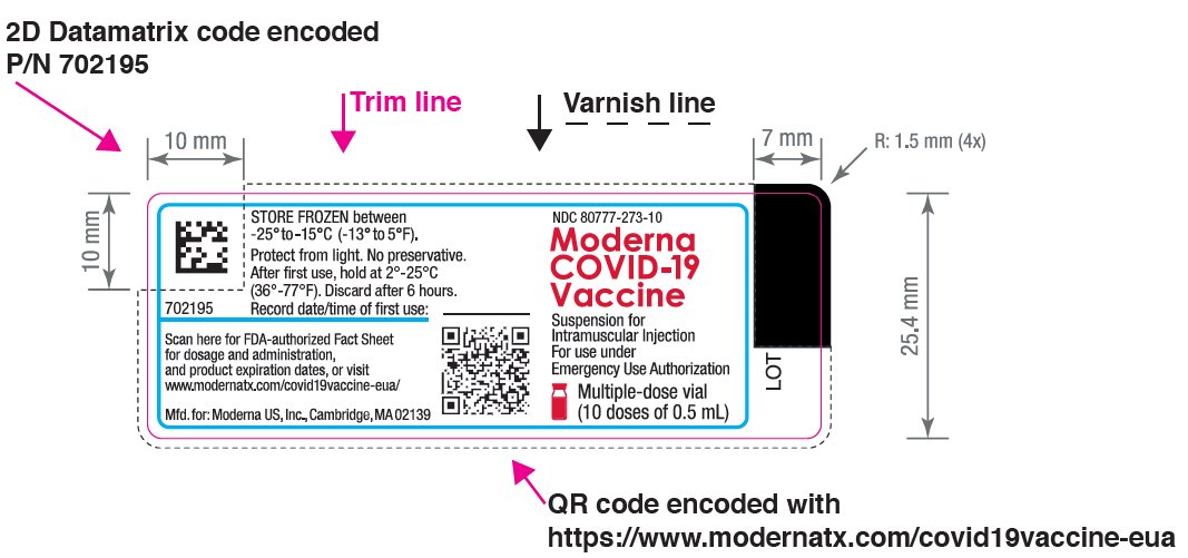 Moderna COVID-19 Vaccine Suspension for Intramuscular Injection for use under Emergency Use Authorization Multiple-dose Vial (maximum 11 doses of 0.5 mL)