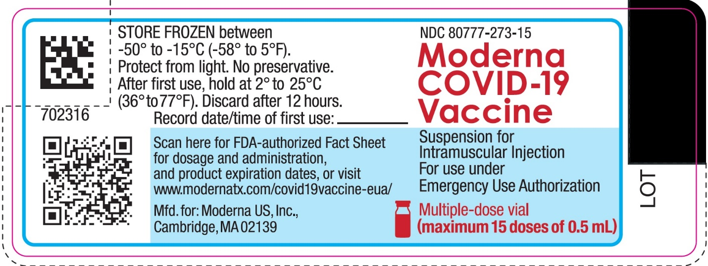 Moderna COVID-19 Vaccine Suspension for Intramuscular Injection for use under Emergency Use Authorization Multiple-dose Vial (maximum 15 doses of 0.5 mL)