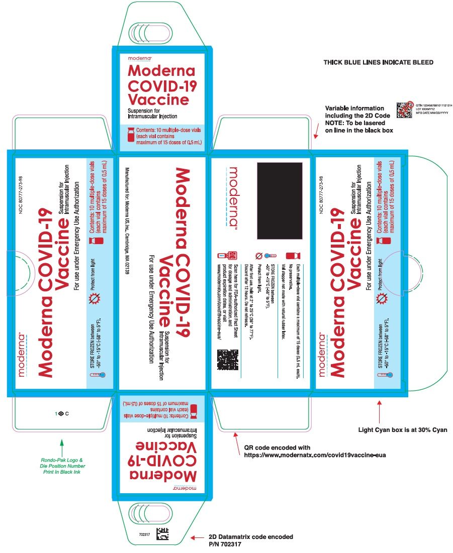 Moderna COVID-19 Vaccine Suspension for Intramuscular Injection for use under Emergency Use Authorization Carton (maximum 15 doses of 0.5 mL)