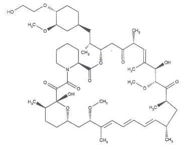 Zortress structural formula of everolimus is (1R, 9S, 12S, 15R, 16E, 18R, 19R, 21R, 23S, 24E, 26E, 28E, 30S, 32S, 35R)-1, 18-dihydroxy-12 -{(1R)-2-[(1S,3R,4R)-4-(2-hydroxyethoxy)-3-methoxycyclohexyl]-1-methylethyl}-19,30-dimethoxy-15, 17, 21, 23, 29, 35-hexamethyl-11, 36-dioxa-4-aza-tricyclo[30.3.1.04,9] hexatriaconta-16,24,26,28-tetraene-2, 3,10,14,20-pentaone.