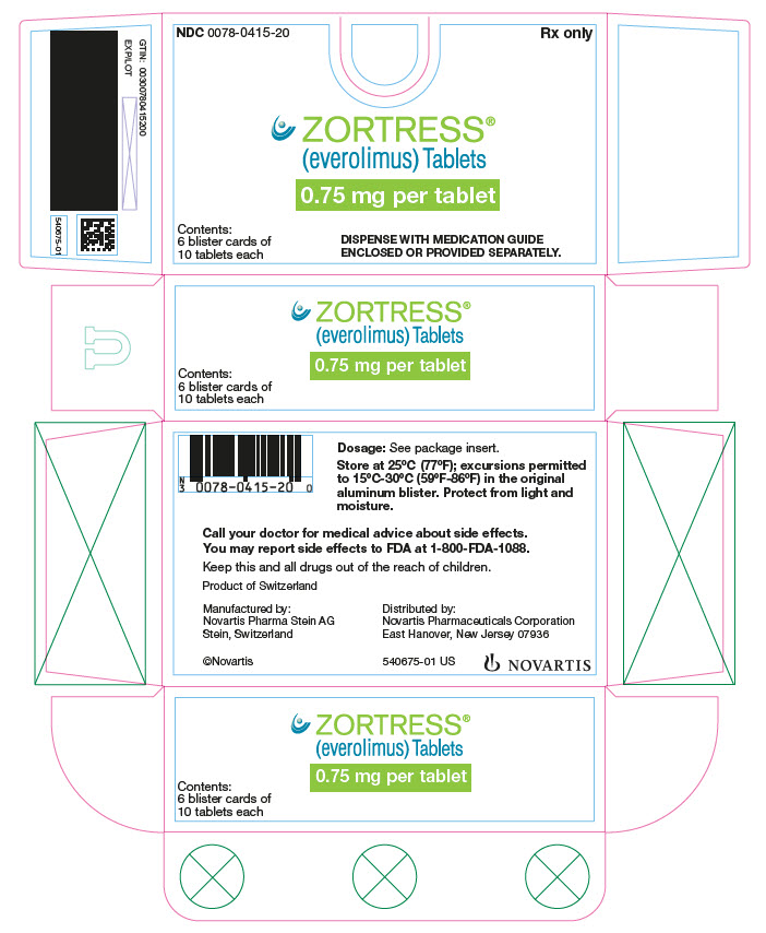 PRINCIPAL DISPLAY PANEL Package Label – 0.75 mg Rx OnlyNDC: <a href=/NDC/0078-0415-20>0078-0415-20</a> Zortress® (everolimus) Tablets