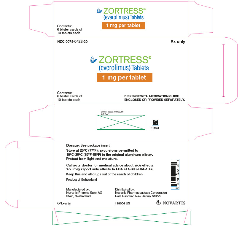 PRINCIPAL DISPLAY PANEL Package Label – 1 mg Rx OnlyNDC: <a href=/NDC/0078-0422-20>0078-0422-20</a> Zortress® (everolimus) Tablets
