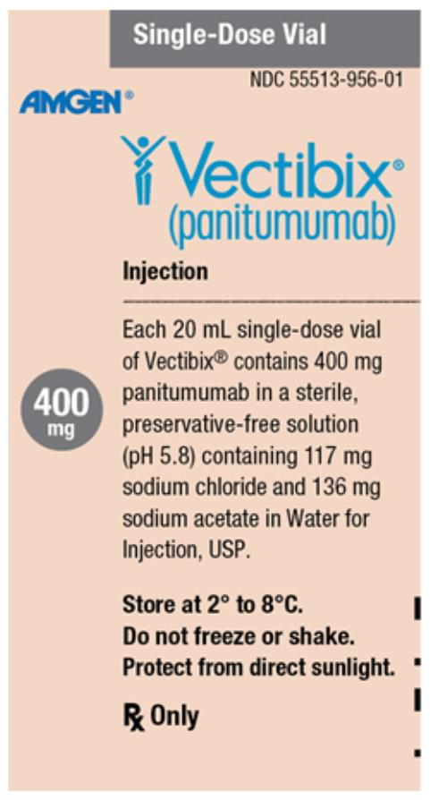 PRINCIPAL DISPLAY PANEL Single-Dose Vial NDC55513-956-01 AMGEN® Vectibix® (panitumumab) Injection 400 mg Each 20 mL single-dose vial of Vectibix® contains 400 mg panitumumab in a sterile, preservative-free solution (pH 5.8) containing 117 mg sodium chloride and 136 mg sodium acetate in Water for Injection, USP. Store at 2° to 8°C. Do not freeze or shake. Protect from direct sunlight. Rx Only