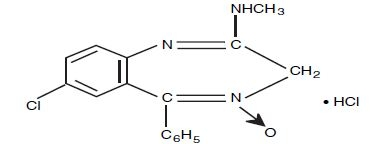 Chemical Structure - Chlordiazepozide HCL