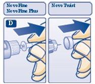 Diagram D: Pull off inner needle cap.