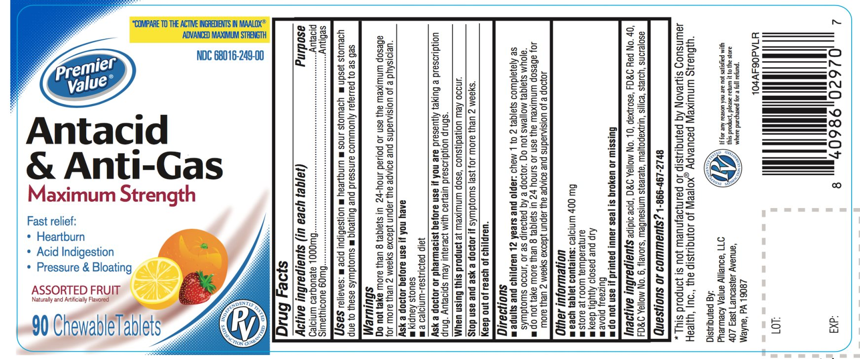 Premier Value Maximum Strength Assorted Fruit 90 Chewable Tablets