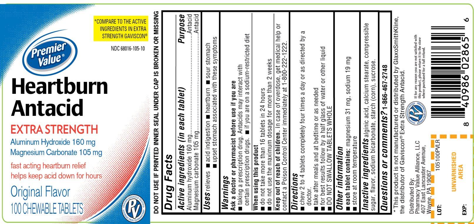 Heartburn Antacid Original Flavor 100 Chewable Tablets