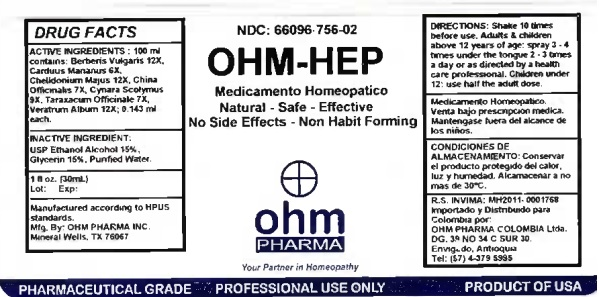 OHM-HEP 1 oz bottle label