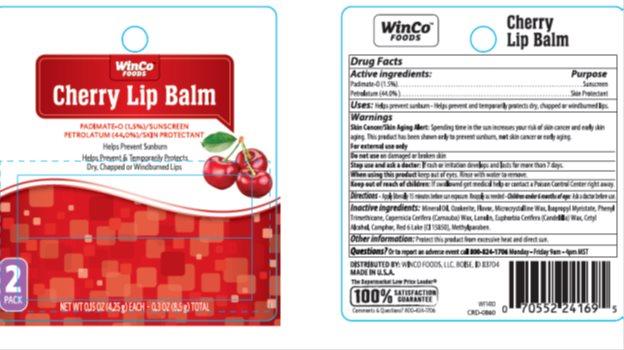 Winco SPF 4 Cherry Lip Balm Twin Pack