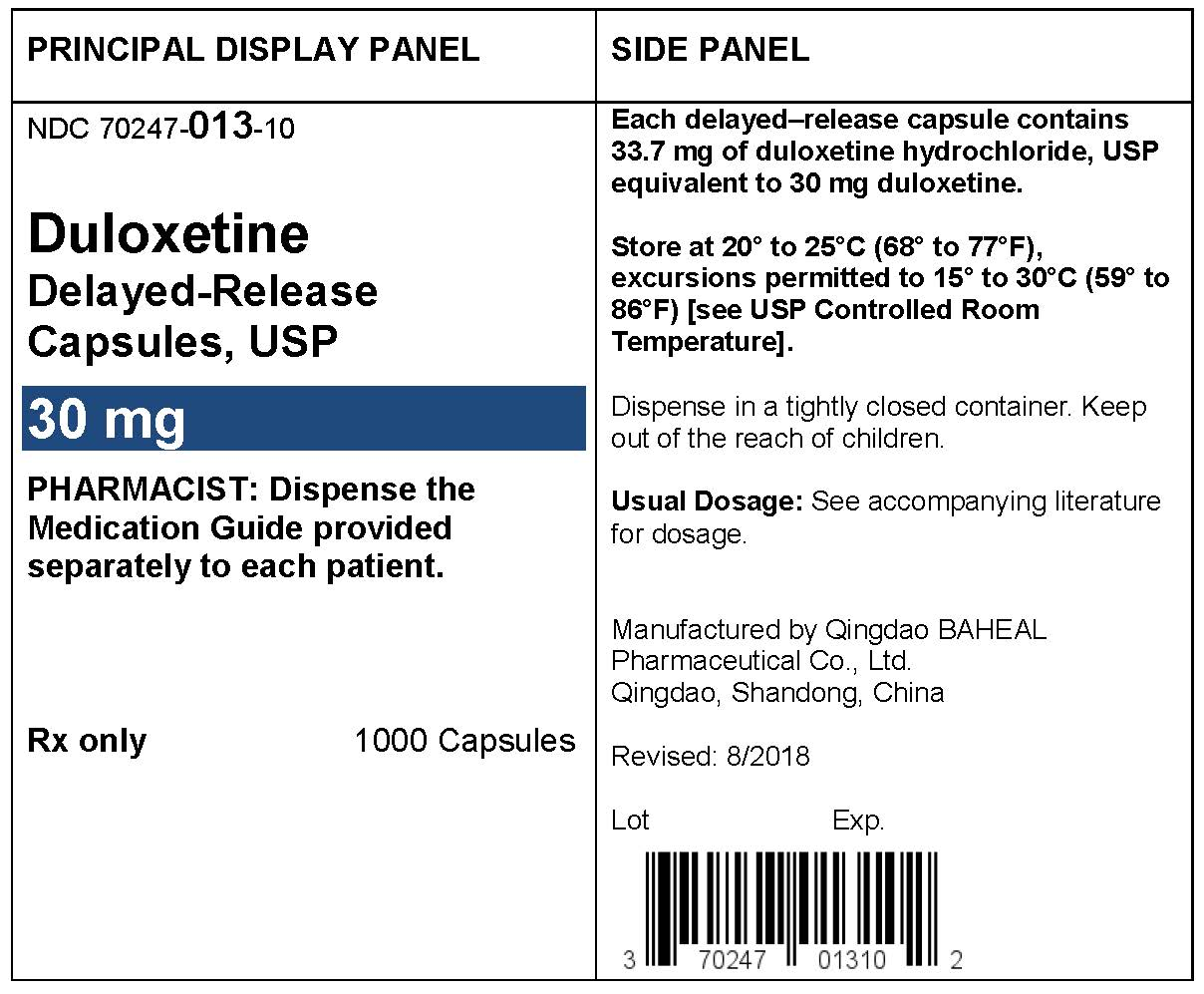 PACKAGE LABEL- Duloxetine Delayed-Release Capsules 30 mg, bottle of 1000