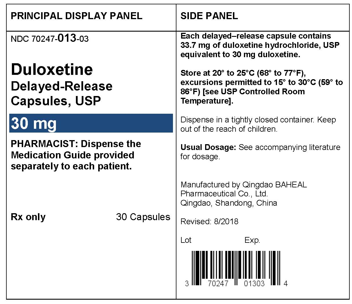 PACKAGE LABEL- Duloxetine Delayed-Release Capsules 30 mg, bottle of 30
