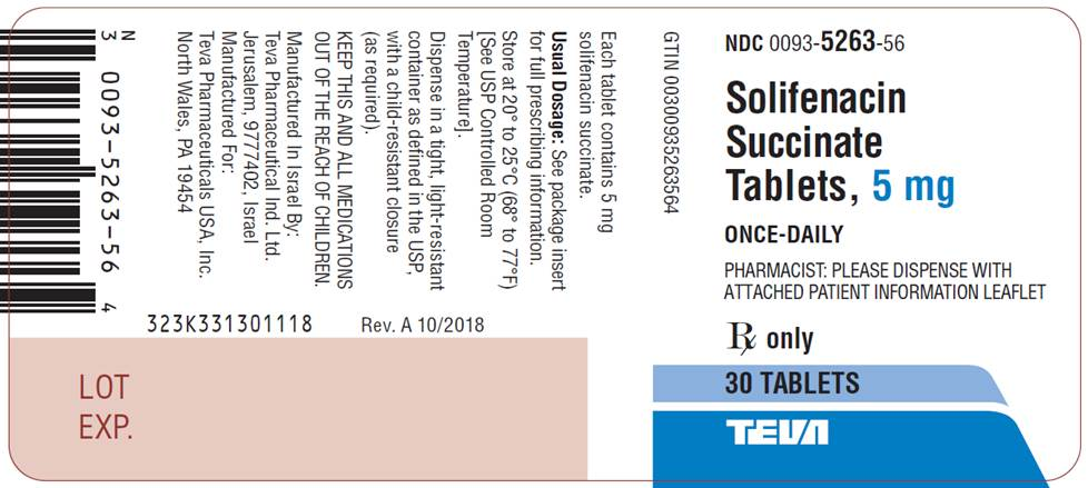 Solifenacin Succinate Tablets, 5 mg, 30 Tablets Label