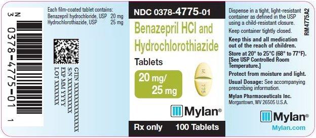 Benazepril HCl and Hydrochlorothiazide Tablets 20 mg/25 mg Bottle Label