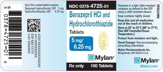 Benazepril HCl and Hydrochlorothiazide Tablets 5 mg/6.25 mg Bottle Label
