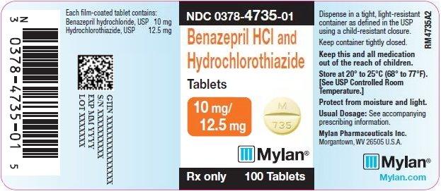 Benazepril HCl and Hydrochlorothiazide Tablets 10 mg/12.5 mg Bottle Label
