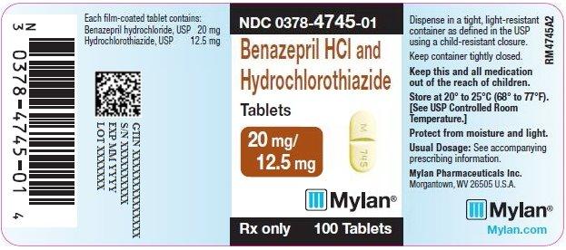 Benazepril HCl and Hydrochlorothiazide Tablets 20 mg/12.5 mg Bottle Label