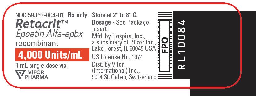 PRINCIPAL DISPLAY PANEL - 4,000 Units/mL Vial Label