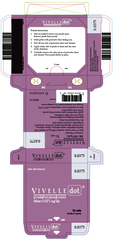 PRINCIPAL DISPLAY PANEL Package Label – 0.0375 mg  Rx OnlyNDC: <a href=/NDC/0078-0343-42>0078-0343-42</a> Vivelle-Dot® (estradiol transdermal system) Delivers 0.0375 mg/day Includes 8 Systems