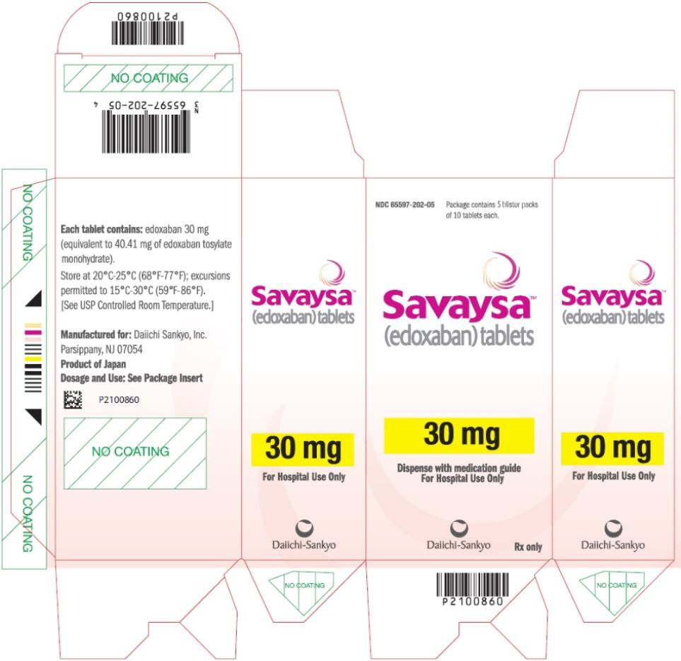 PRINCIPAL DISPLAY PANEL NDC: <a href=/NDC/65597-202-05>65597-202-05</a> Savaysa (edoxaban) tablets 30 mg Package contains 5 blister packs of 10 tablets each Rx Only