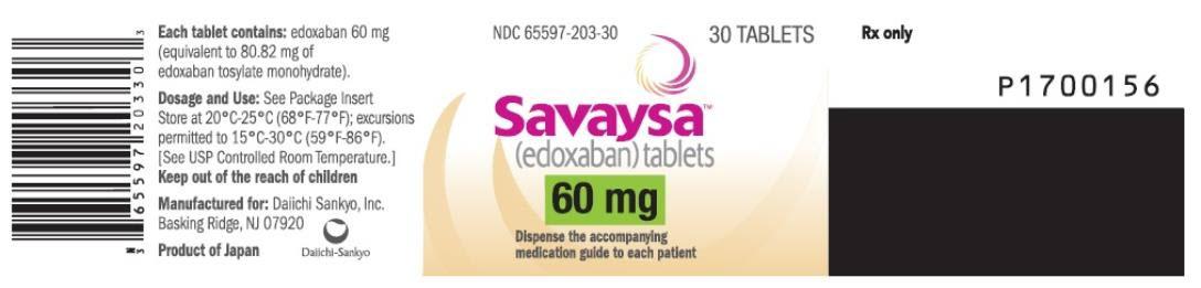 PRINCIPAL DISPLAY PANEL NDC: <a href=/NDC/65597-203-30>65597-203-30</a> Savaysa (edoxaban) tablets 60 mg 30 TABLETS Rx Only