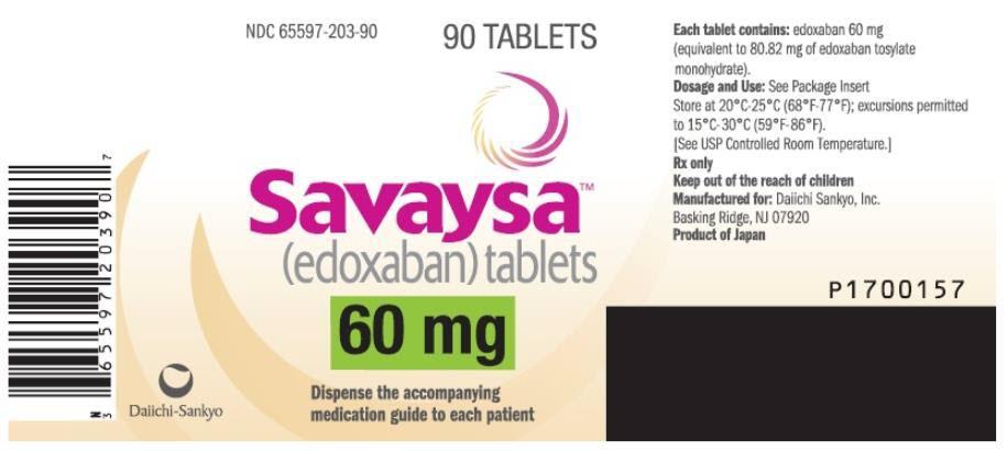 PRINCIPAL DISPLAY PANEL NDC: <a href=/NDC/65597-203-90>65597-203-90</a> Savaysa (edoxaban) tablets 60 mg 90 TABLETS Rx Only