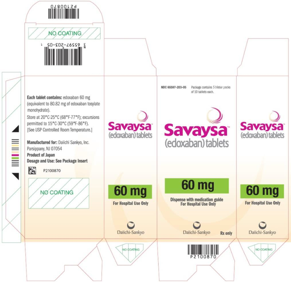 PRINCIPAL DISPLAY PANEL NDC: <a href=/NDC/65597-203-05>65597-203-05</a> Savaysa (edoxaban) tablets 60 mg Package contains 5 blister packs of 10 tablets each Rx Only