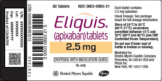 eliquis 2.5 mg x 60s bottle