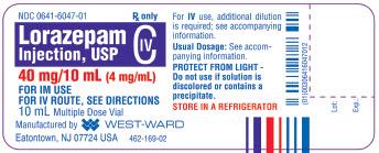 Lorazepam Injection, USP CIV 40 mg/10 mL (4 mg/mL) 10 mL Multiple Dose Vial