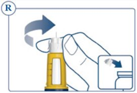 Figure R: place the needle in a sharps container