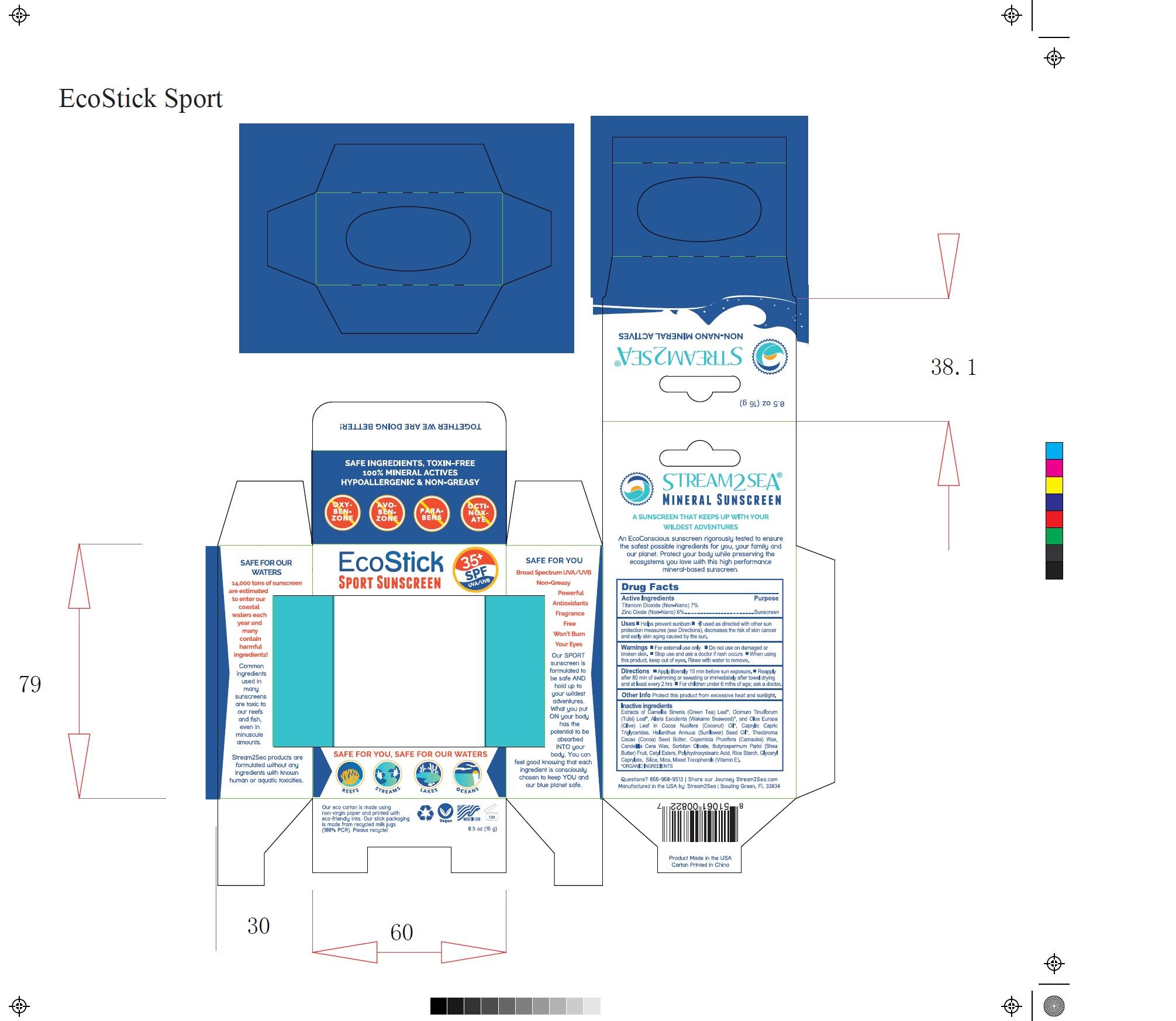 EcoStick Sport Screenscreen Wild Blue Carton Label