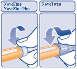 Figure E: Twist the needle on.