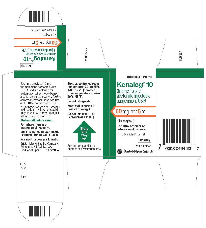 Kenalog_10  50 mg Carton Label
