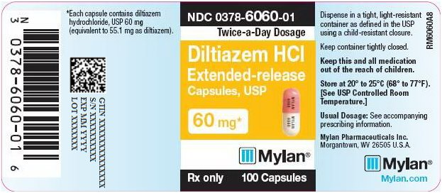 Diltiazem Hydrochloride Extended-Release Capsules 60 mg Bottle Label