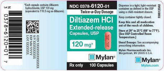 Diltiazem Hydrochloride Extended-Release Capsules 120 mg Bottle Label
