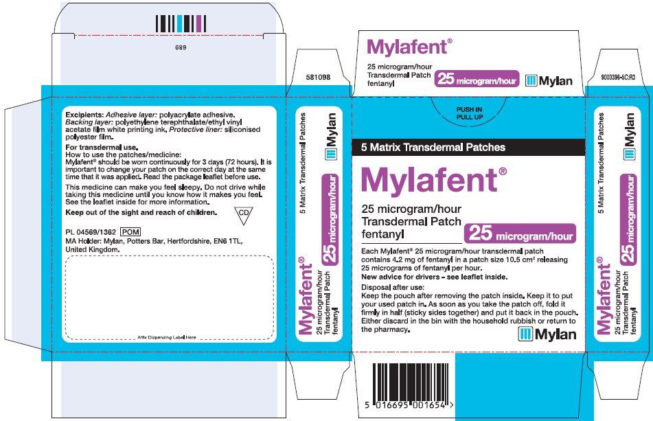 25 microgram/hour Carton Label - UK