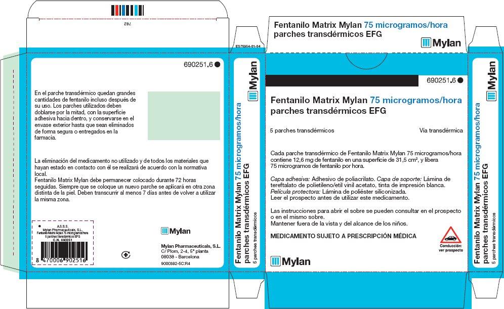 75 microgram/hour Carton Label - Spain