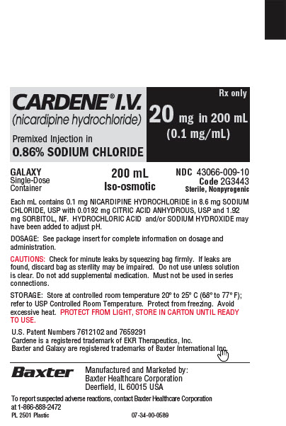 Representative Cardene Baxter 20 mg Container Label 43066-009-10  1 of 2