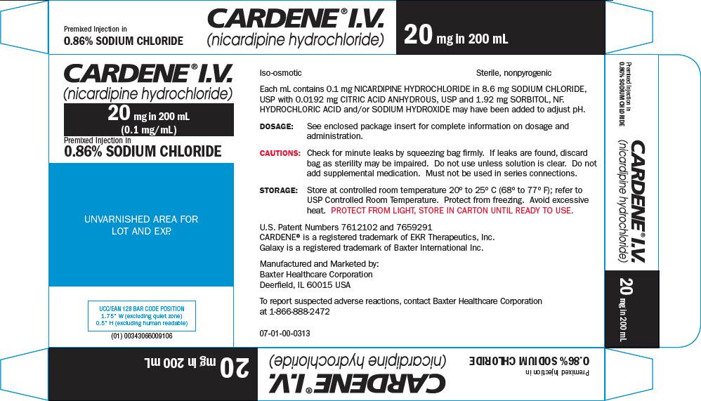 Representative Cardene Baxter 20 mg Carton Label 43066-009-10  2 of 2