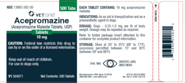 Picture of 10 mg, 500 tablet container label.