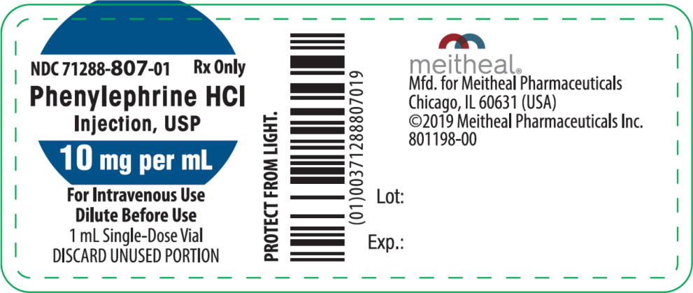 Principal Display Panel – Phenylephrine HCl Injection, USP 10 mg per mL Vial Label