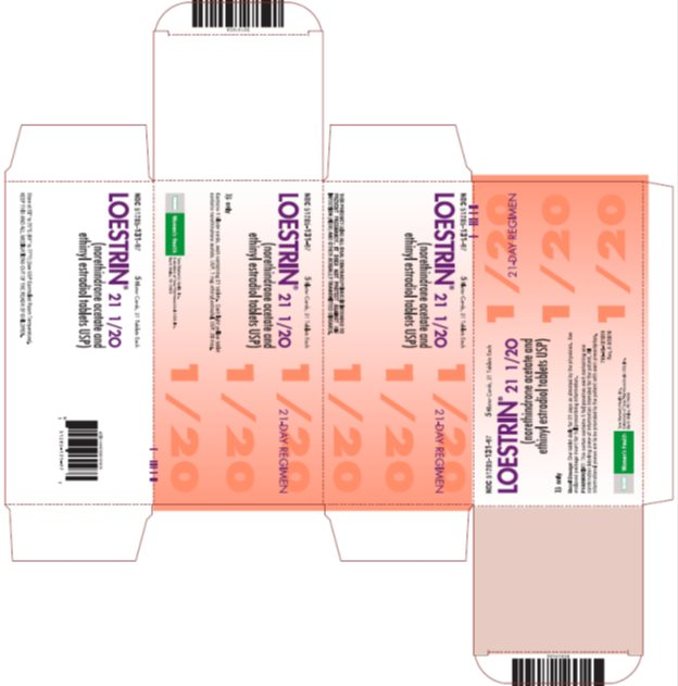 Loestrin® 21 1/20 (norethindrone acetate and ethinyl estradiol tablets USP) 21-Day Regimen, 5 Blister Cards, 21 Tablets Each, Carton
