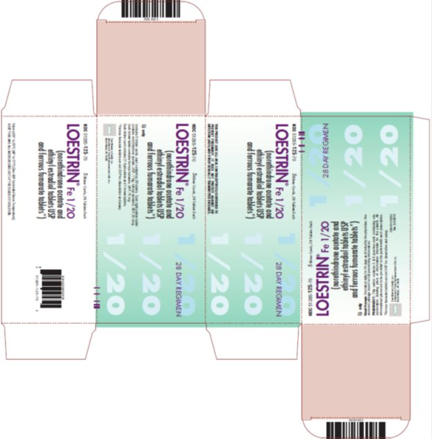 Loestrin® Fe 1/20 (norethindrone acetate and ethinyl estradiol tablets USP and ferrous fumarate tablets*) 28 Day Regimen, 5 Blister Cards, 28 Tablets Each, Carton