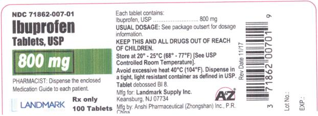 PRINCIPAL DISPLAY PANEL NDC: <a href=/NDC/71862-007-01>71862-007-01</a> Ibuprofen Tablets, USP 800 mg 100 Tablets Rx Only